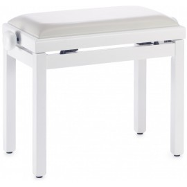banquette de piano blanc satiné (pelote skai blanc)