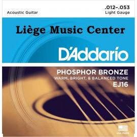 cordes guitare acoustique D'Addario light bronze EJ-16
