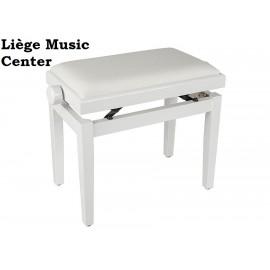 banquette piano Boston blanc poli pelote velours blanc