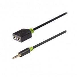 câble repartiteur audio stéréo 3,5mm M 2x3,5mm F 20cm