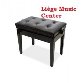 banquette de piano noir poli capitonné