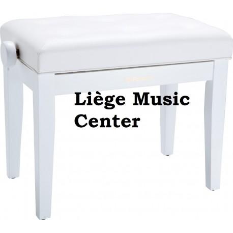 banquette piano Roland blanc satiné assise vinyl