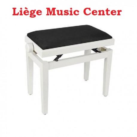 banquette piano Boston blanc mat pelote velours noir