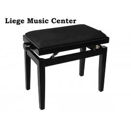 banquette piano noir poli Boston pelote velours noir